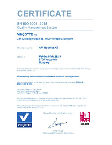 "EN ISO 9001 : 2015 ""QUALITY MANAGEMENT SYSTEM"""